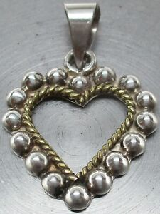 Vintage 925 STERLING SILVER Chunky Southwestern TAXCO San Marco & Beaded Heart