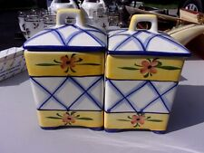 Lovely Decorator Pair Vtg Andrea Sadek Canister lids jars yellow floral - LOTHYM