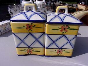 Lovely Decorator Pair Vtg Andrea Sadek Canister lids jars yellow floral - LOTHYM
