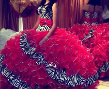 Zebra/Red Quinceanera Dresses Ball Gown Prom Ball Formal Party Dress Size  14