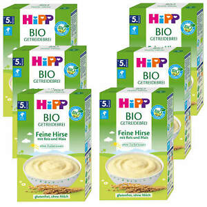 6x 200g Hipp Bio Getreidebrei Feine Hirse mit Reis + Mais ohne Zucker glutenfrei