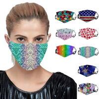Mund masken Mund-Nasen-Atem Maske Waschbar Schwarz mit Aufdruck L/P
