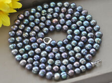 """Z10690 50"""" 10mm Black Round Freshwater Pearl Necklace"""