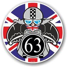 Retro cafe racer 1963 ton up club union jack drapeau cocarde vinyle voiture vélo autocollant