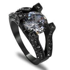 Size 9 White Topaz Zircon Wedding Ring 10KT Black Gold Filled Engagement Band