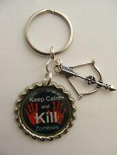 """Keep Calm & Kill Zombies"" Bottlecap Keyring Walking Dead inspired Birthday Gift"