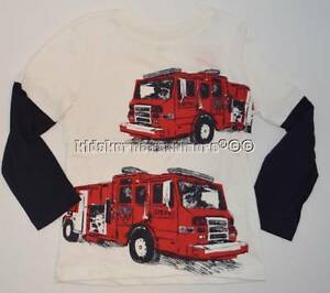 Gymboree Rescue Squad 8 Fire Truck Shirt Double Sleeve Red Engine NWOT