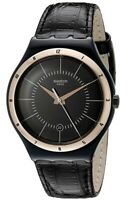 Swatch Irony Big Watch Rose Gold Leather Black Strap  YWB403 Nachtigall - Rare