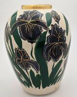 "Signed Satin and Glazed Iris Vase with Gold Trim 9"""