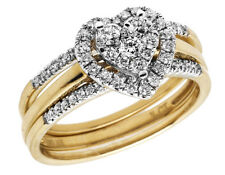 14K Yellow Gold Genuine Diamond Pave Center Heart Cluster 3 Ring Set .50 ct