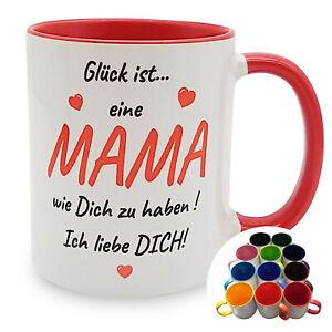 Glück ist ...  Tasse Muttertag - 12 Farben Kaffeebecher Kaffeetasse Geschenk