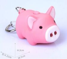Pink Pig Keychain LED Light Up With Sound US Seller