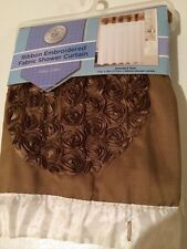 Sultan's Linens Ribbon Embroidered Fabric Shower Curtain 70in x 72in Nip