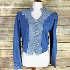 Roughrider Womens Western Denim Jacket Size L Faux Buffalo Nickel Buttons Stripe