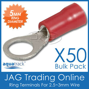 50 x RED INSULATED RING CRIMP TERMINALS 5mm HOLE - CABLE CONNECTORS for 3mm WIRE