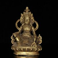 "4.7"" Collect China Bronze Gilding Buddhism Yellow Wealth God Buddha Statue"