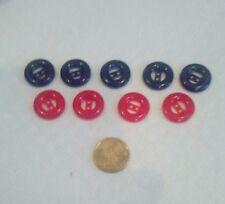 lot 9 boutons couleur bleu et rouge lisses petit bouton NOUVEAU
