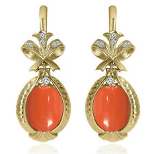 14k Solid Yellow Gold Genuine Diamond & Coral Russian Style Earrings #E1433