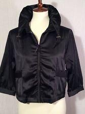Elle Women's Jacket Black Shiny Short Zip Up Ruffle Collar Detail Pockets Size M