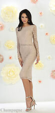 NEW LONG SLEEVE MOTHER OF THE BRIDE GROOM SHORT SEMI FORMAL CHURCH LACE DRESS