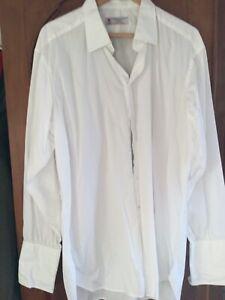 Turnbull & Asser White Sea Island Quality Cotton Shirt / Double Cuff - 46/18 VGC