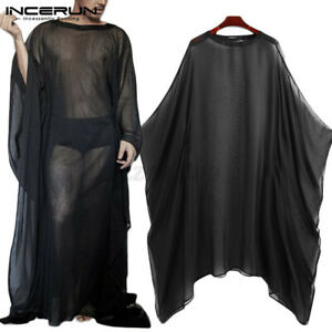 Mens See Through Mesh Kaftan Batwing Loose Fit Robes Shirt Clubwear Undershirt