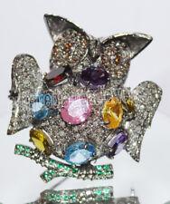 Victorian Look Silver Owl Brooch Pin 4.88ct Rose Cut Diamond Mixed Gemstone'S