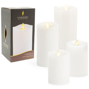 Luminara LED Light Flameless Pillar Wax Candle Real Flame Effect Unscented