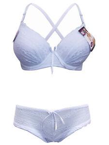 Embroidered Bra & Knicker Set White 30-40 C Cup Ladies Women Girls Underwear