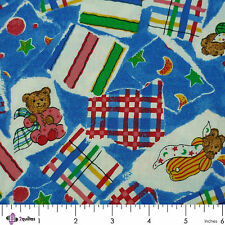 BEDTIME BEARS WITH BLANKETS ON BLUE - FABRIC FQ
