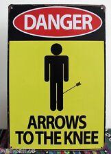 Arrows to the Knee Humour Quote Metal Tin Sign GAG Wall Decor Display SKYRIM Ad