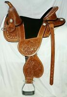 Brand New Handmade Treeless Western Leather Based Barrel Racing Saddle All Size