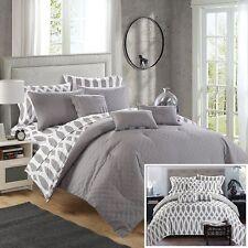Chic Home 10-Piece Reversible Plush Comforter Set, Queen, Grey