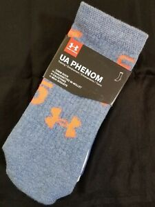 Under Armour Mens Phenom Crew Socks Training 3 Pair Size Large Blue & Gray