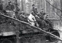 WWII B&W Photo German Fallschirmjager Soldiers on Tiger Tank WW2 World War/ 2351