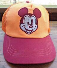 Disney Womens Baseball Cap Mickey Mouse Vintage Disney Parks Orange Hat