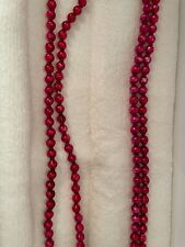 2 Vintage Mercury Glass Feather / Christmas Tree Garlands Red 73� & 48� x 1/4�
