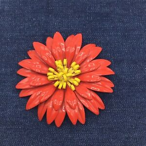 Vintage Red and Yellow Enamel Large Flower Brooch/Pin