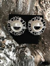 NWT CHANEL Earrings On Top Of The Clouds Happy Pearl Smiley Emoji Black Crystal