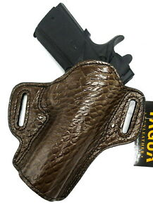 "TAGUA Right Hand Open Top CROCO EMBOSSED Brown Leather Holster for 5"" 1911"