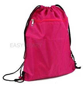 Drawstring Backpack Zippered Pocket Sport Gym Waterproof Cinch Sack Pack Bag