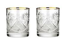 Set of 2 Russian Cut Crystal Rocks Glasses 11 oz – 24K Gold Trim Whisky DOF