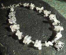 Rose Quartz Gemstone Chip Beads Elephant Charm Anklet Gypsy Beach Anklet Healing