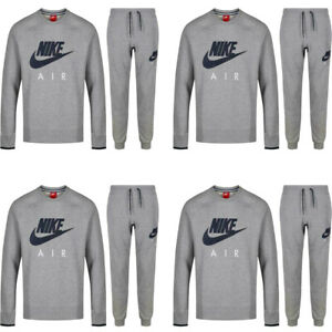 Nike Mens Joggers Sweatshirts Tracksuit Crewneck Air Fleece Top Bottom Grey