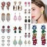 New Fashion Women Crystal Tassel Ear Stud Earrings Dangle Statement Boho Jewelry