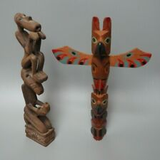 INDONESIAN WOODEN TOTEM DOUBLE FIGURE WITH PHALLUS & NATIVE AMERICAN TOTEM POLE