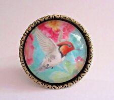 Set of 6 New Gorgeous Vibrant HUMMINGBIRD Cabinet Drawer Knob Pulls Vintage Gold