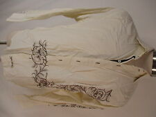 English Laundry Hand Sewn Mens Beige Embroidered Long Sleeve Cotton Shirt XL