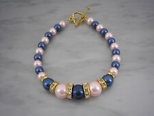 Handmade Pearl & Diamante Bracelet with a Silver or Gold plated Heart Clasp 6AA