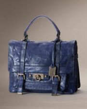 NWOT Frye Cameron Small Distressed Leather Satchel - Iris Blue